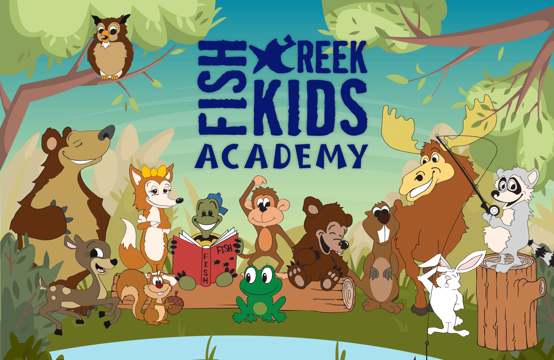 FishCreek Kids Academy logo with animals
